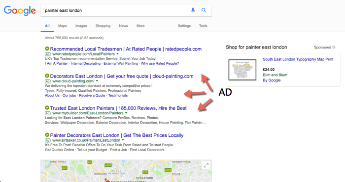 example of google ad in serp