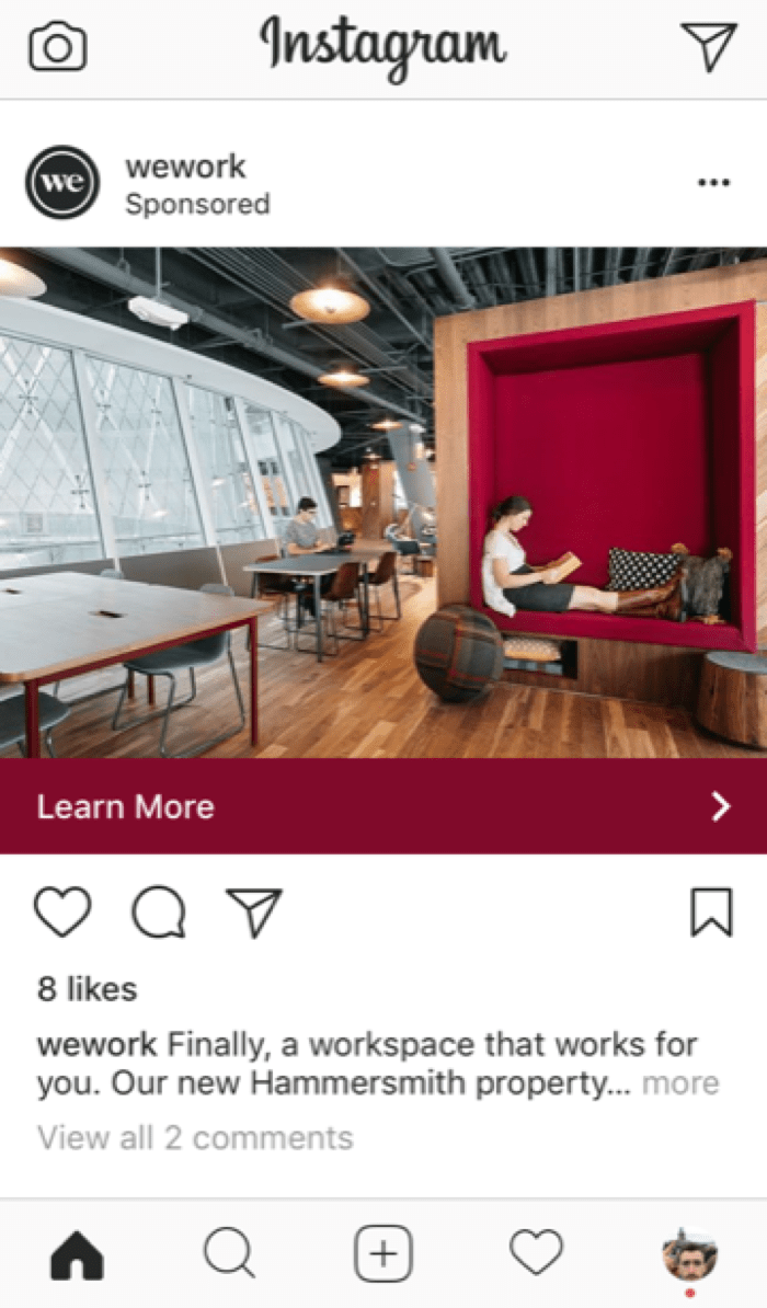 example of an instagram ad on mobile