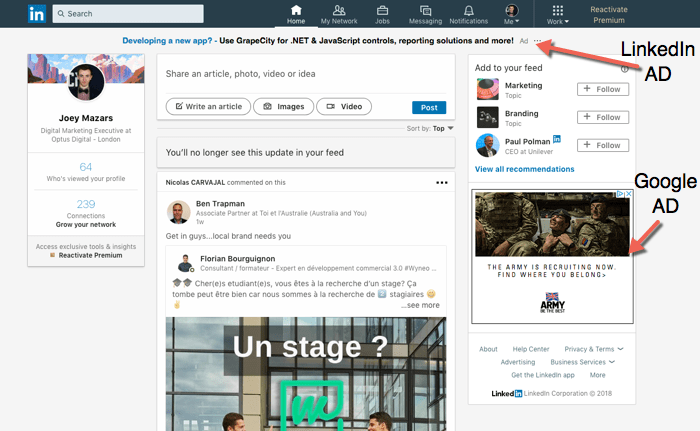 example of an ad in linkedin