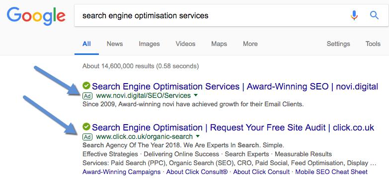 google adwords in serp