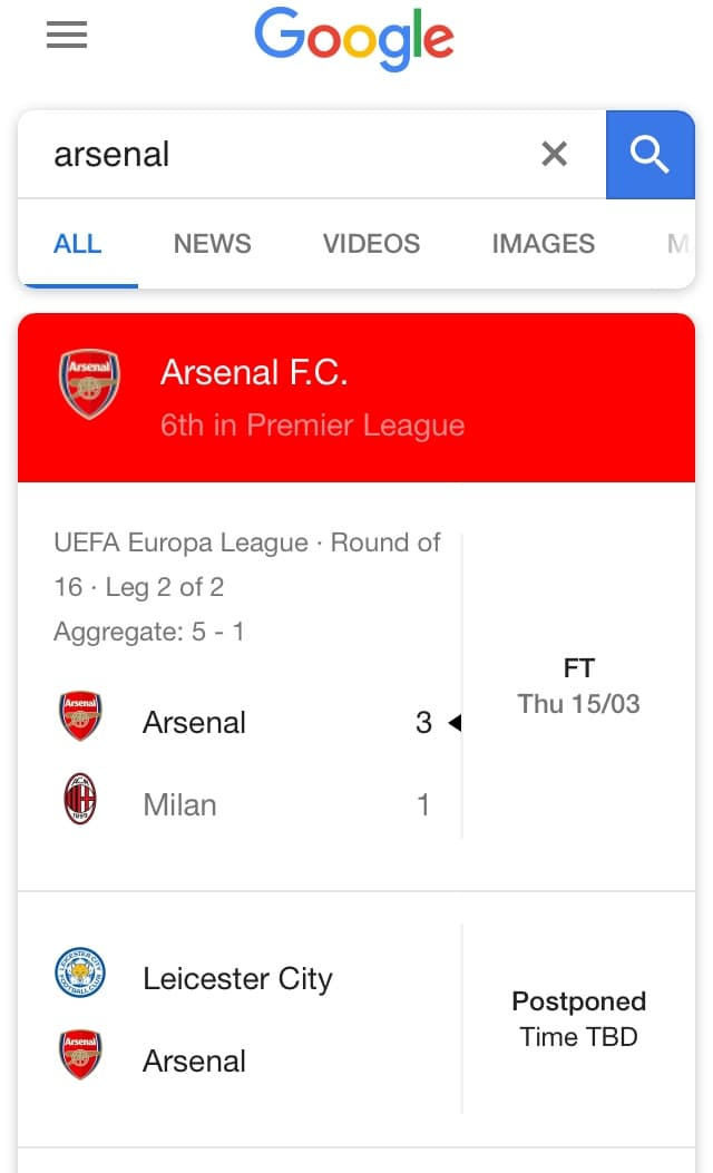 Google Search of Arsenal