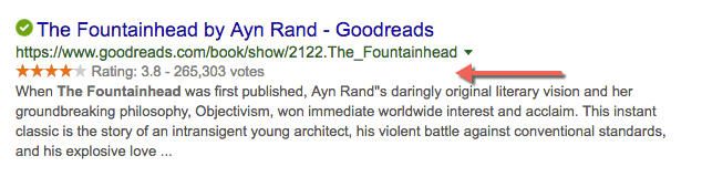 example of a review snippet for the fountainhead